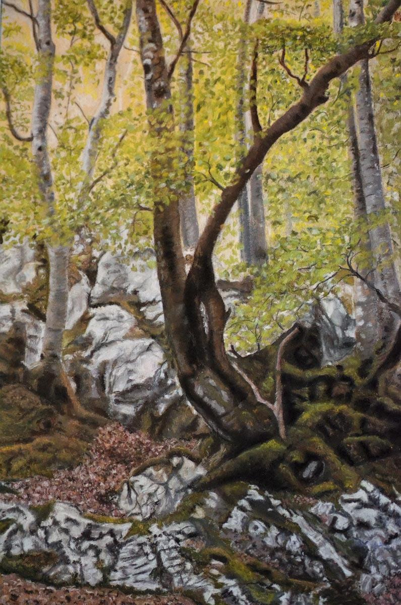 Beech-tree-meadow - Painting by Sandra Cattermole