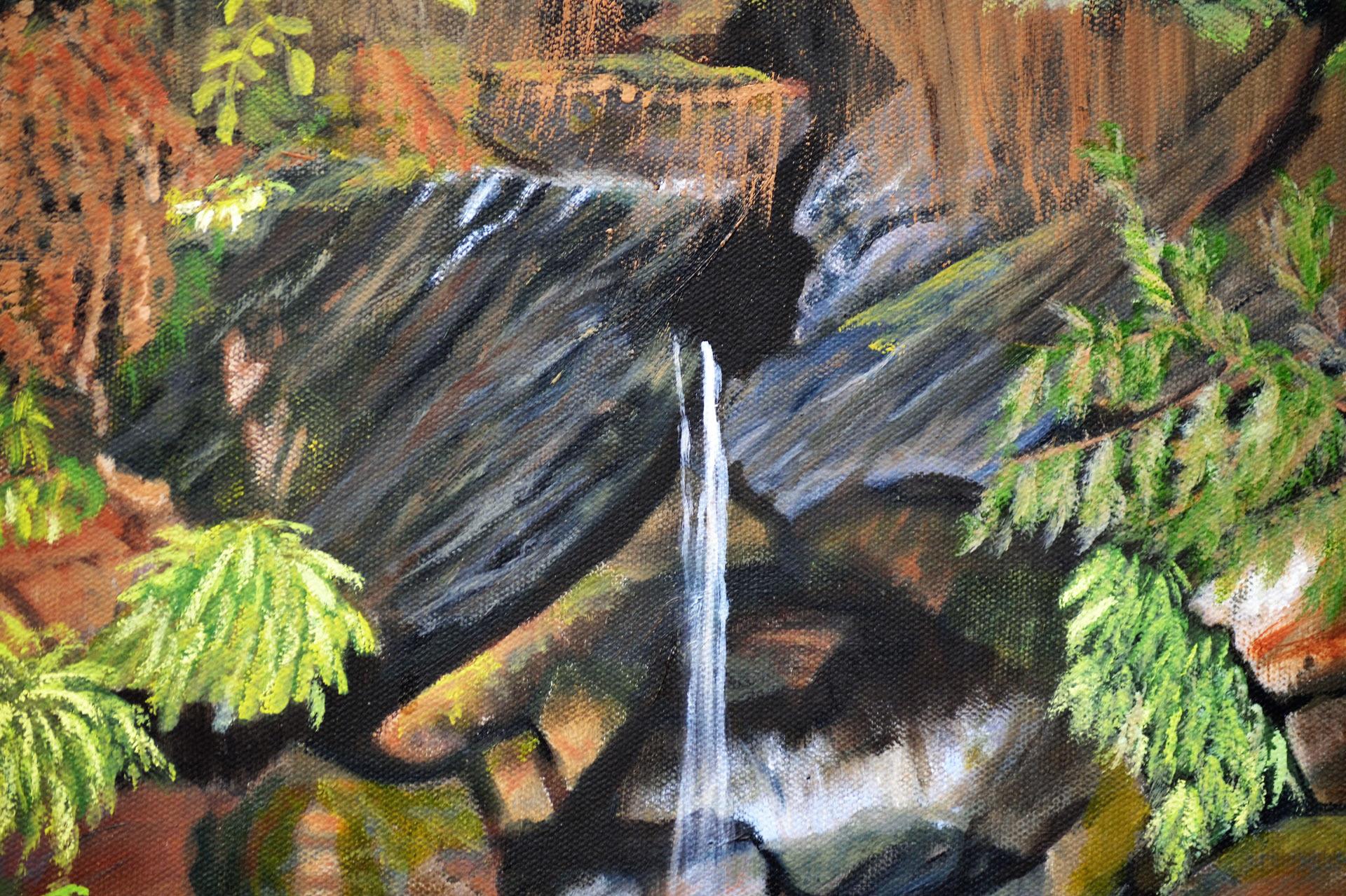 Jones-Lake-Waterfall - Painting by Sandra Cattermole