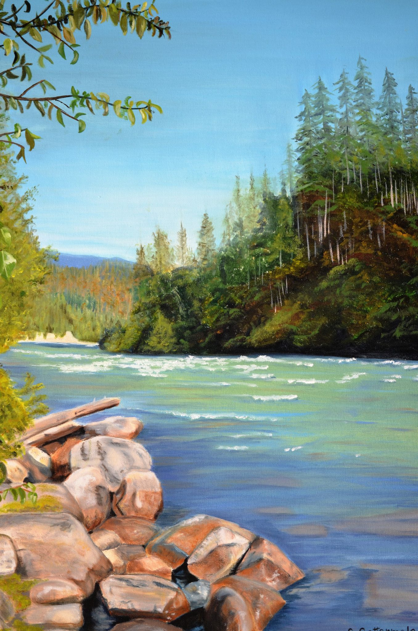 Nahatlatch-River - Painting by Sandra Cattermole