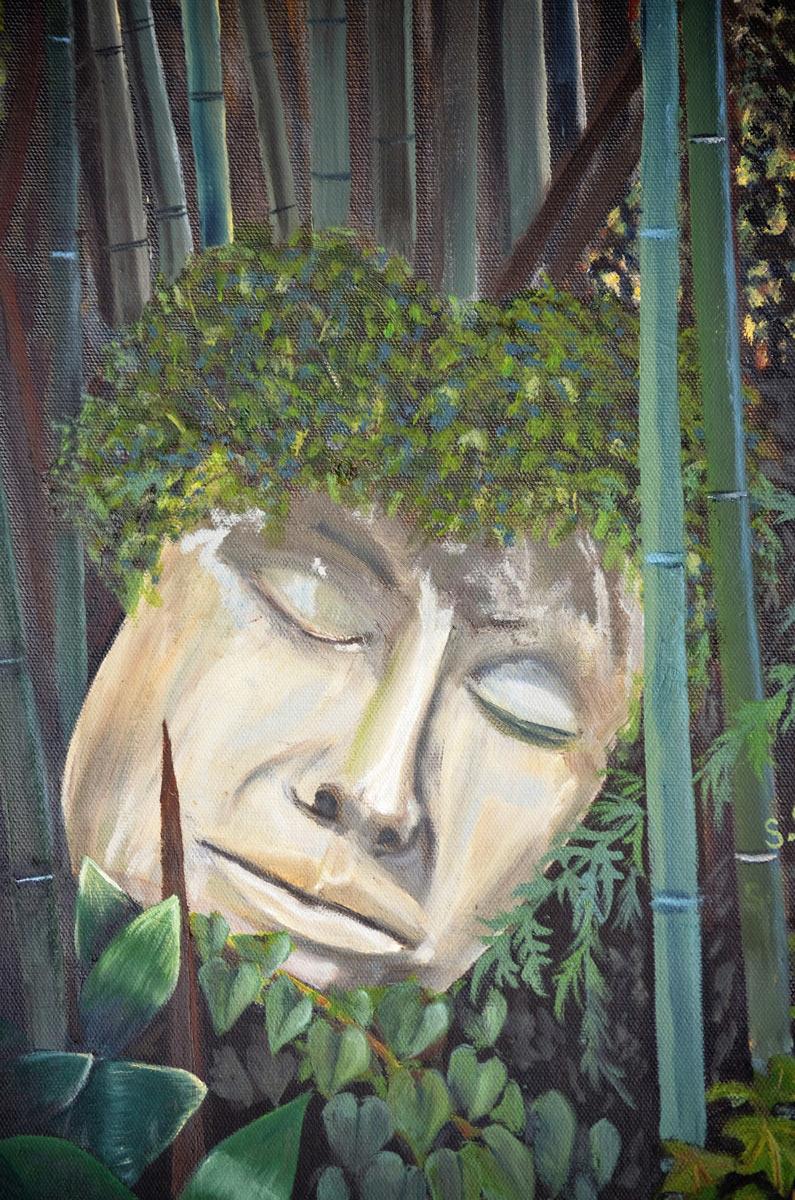 Greek-Garden- Painting by Sandra Cattermole