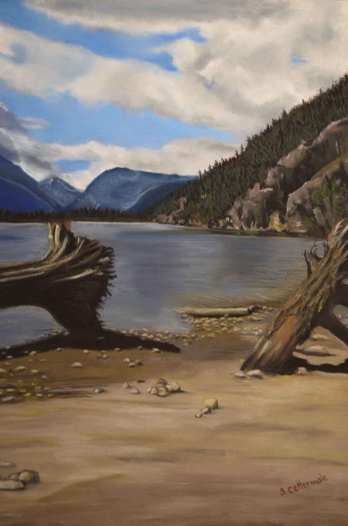 Natlatch Lake II - Pastel by Artist Sandra Cattermole