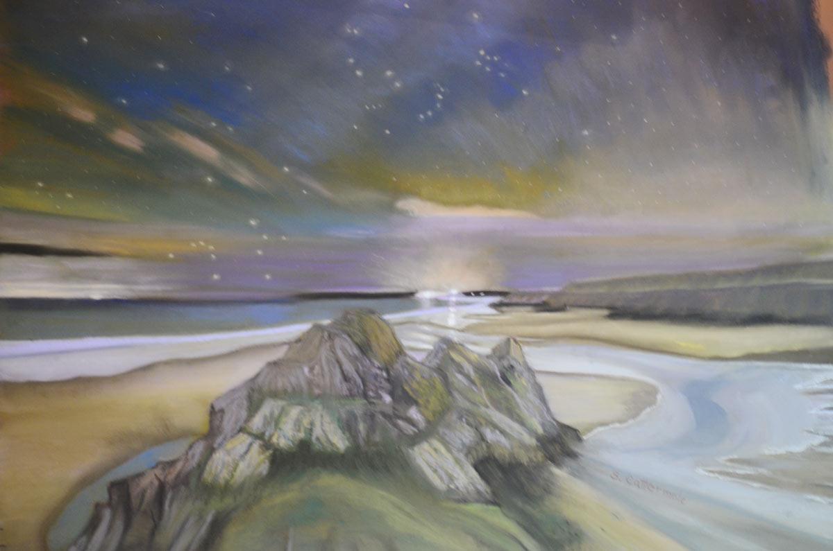 Three Cliffs Beach, Wales - Pastel by Artist, Sandra Cattermole