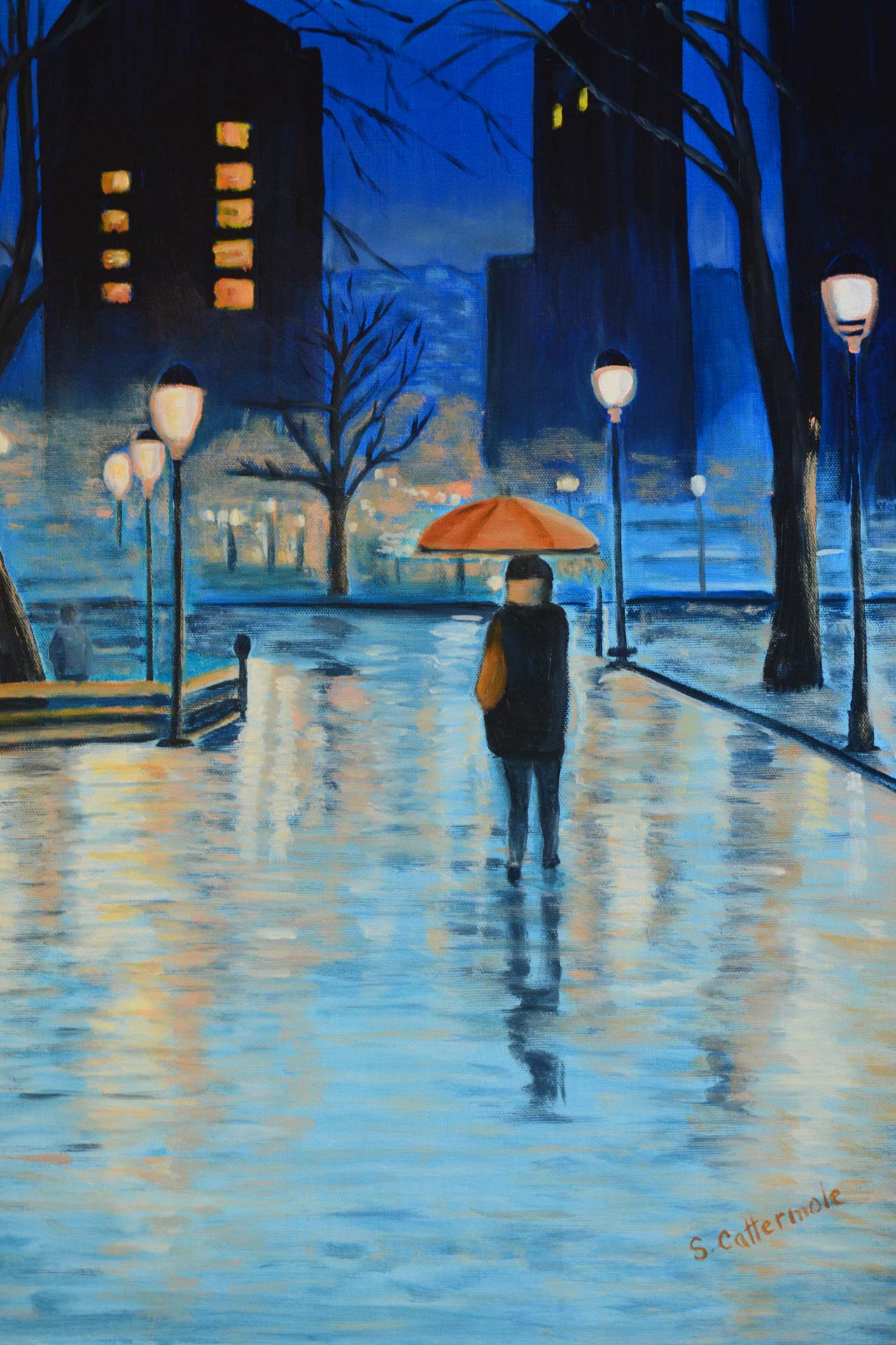 A Solitary Walk (Paris) Oil Painting by artist Sandra Cattermole